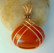 Carnelian Gemstone Pendant wrapped in Copper