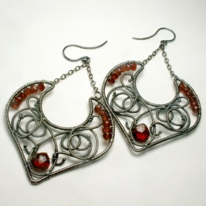 Red Garnet Argentium Wire Earrings