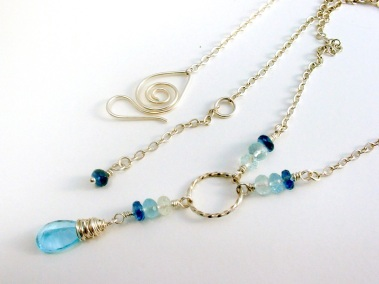 Blue Topaz and Argentium Y-shaped Necklace
