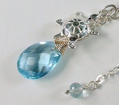 Blue Topaz and Turtle Charm Argentium Necklace
