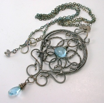 Blue Topaz Argentium Wire Wrapped Pendant and Chain