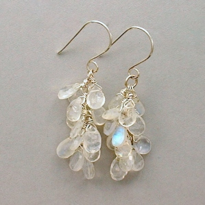 Rainbow Moonstone Argentium Sterling Earrings