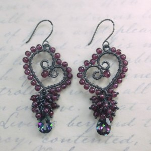 My finished heart components decorated with Garnets and Mystic Topaz