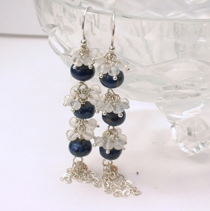 Moonstone and Lapis Lazuli Argentium Sterling Earrings