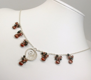 Red Garnet, Black Spinel cluster necklace, Argentium Sterling Silver
