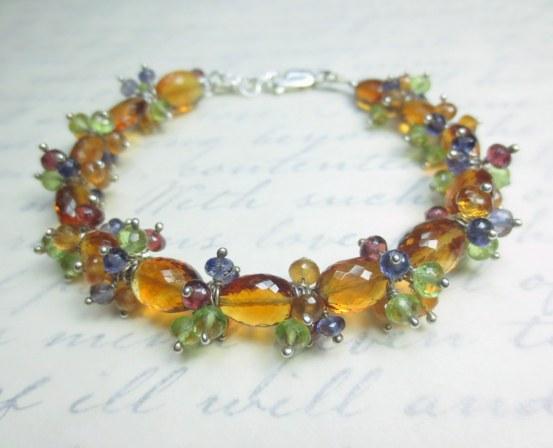 Citrine, Peridot, Iolite, Garnet Garden bracelet with Argentium sterling silver